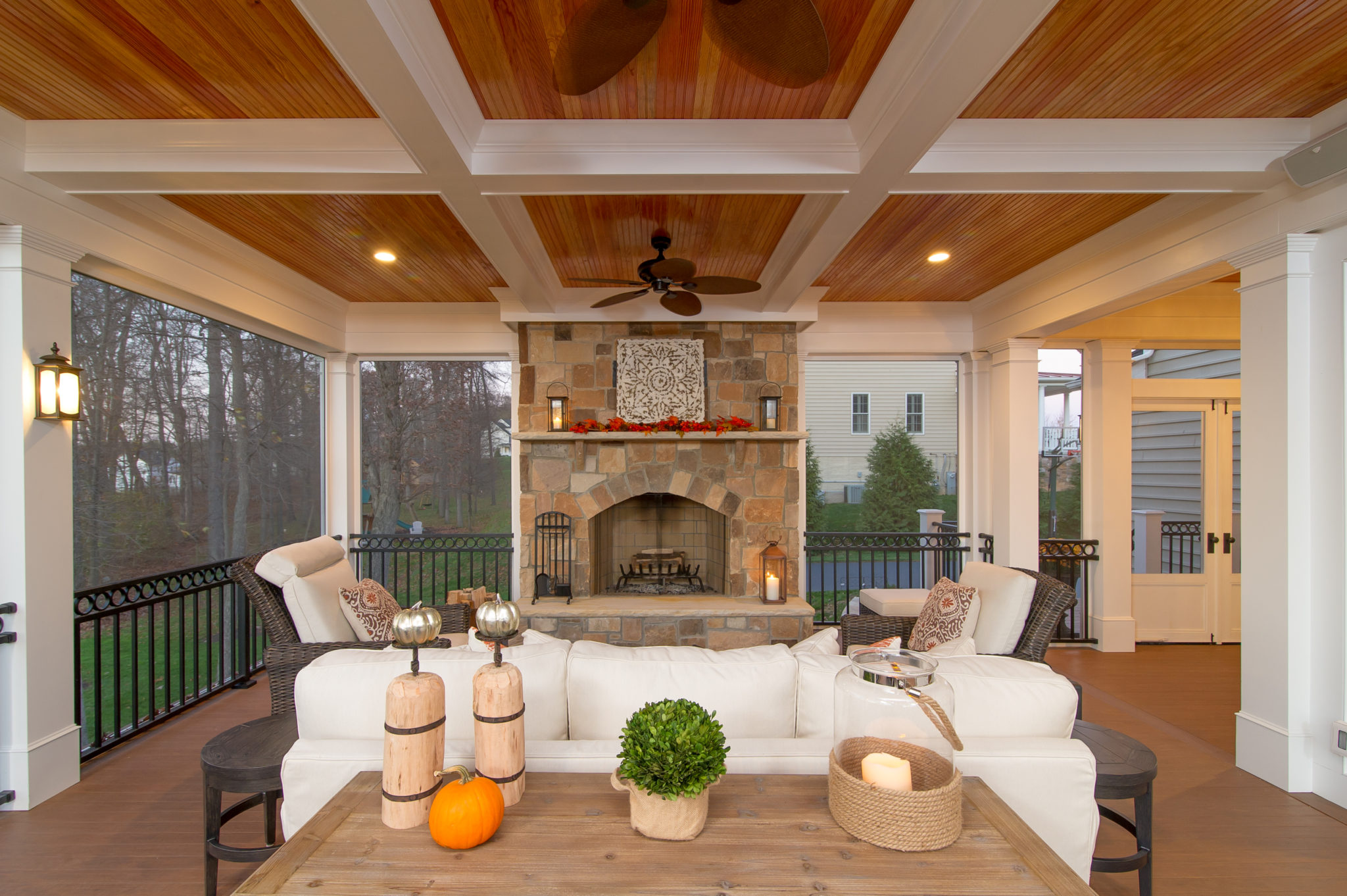 Building materials supply and installation myrtle beach for Screened in porch fireplace ideas